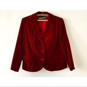 Vintage 60s Velvet Blazer Red L